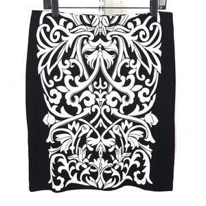 J McLaughlin Damask Printed Pencil Skirt 8